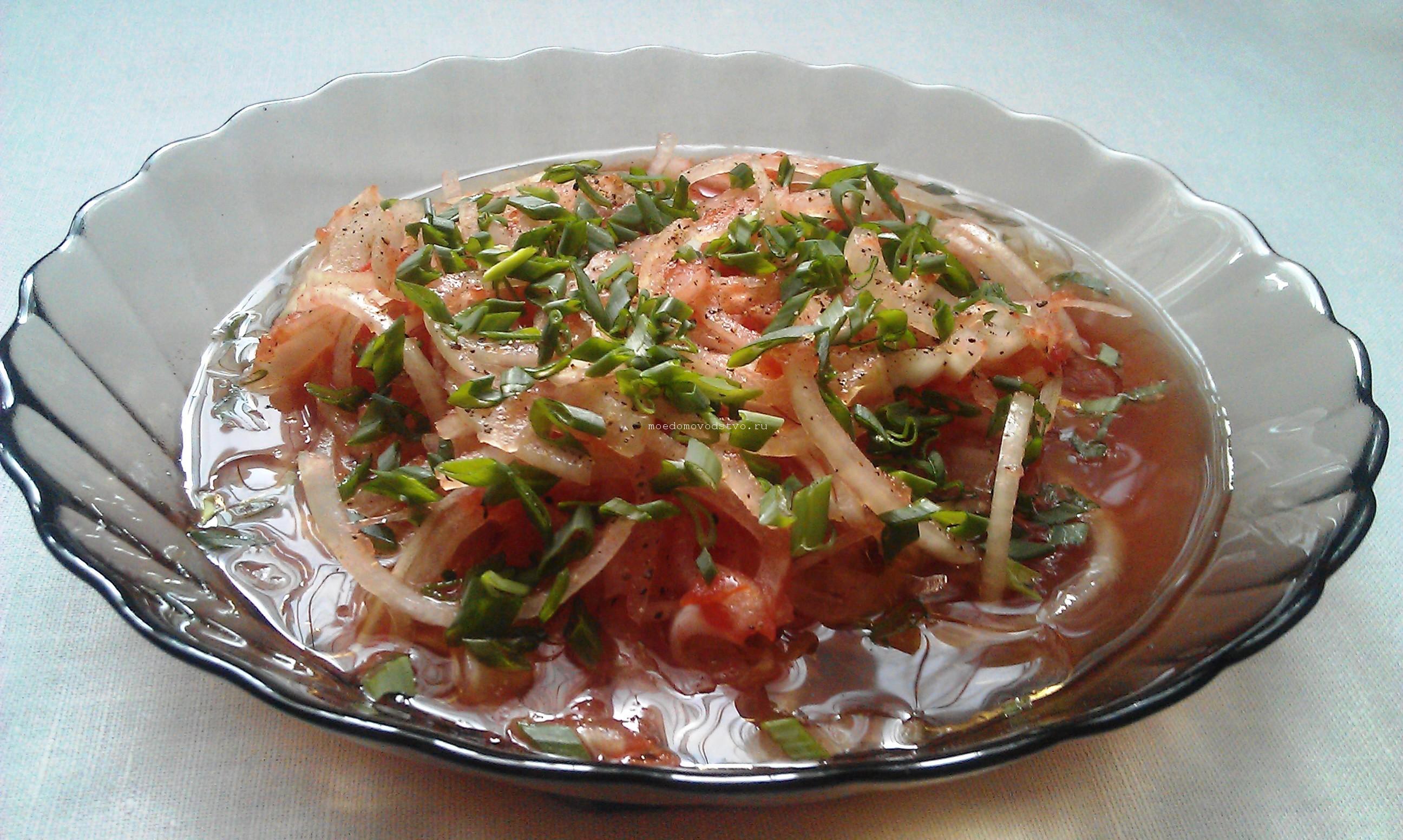 Салат из репчатого лука с растительным маслом